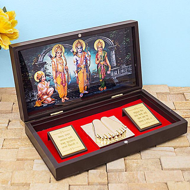 24 Carat Gold Plated Ram Darbar Pooja Box