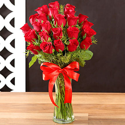 Online Red Roses and Vase:25Th Anniversary Gifts