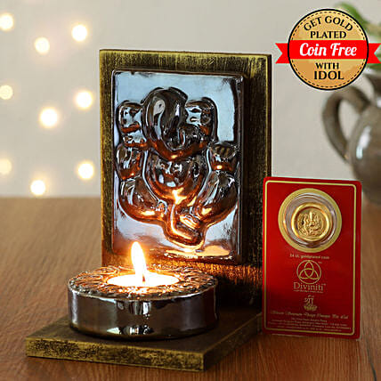25 Carat Gold Plated Coin Free With Brown Ganesha Tealight Holder:Diyas