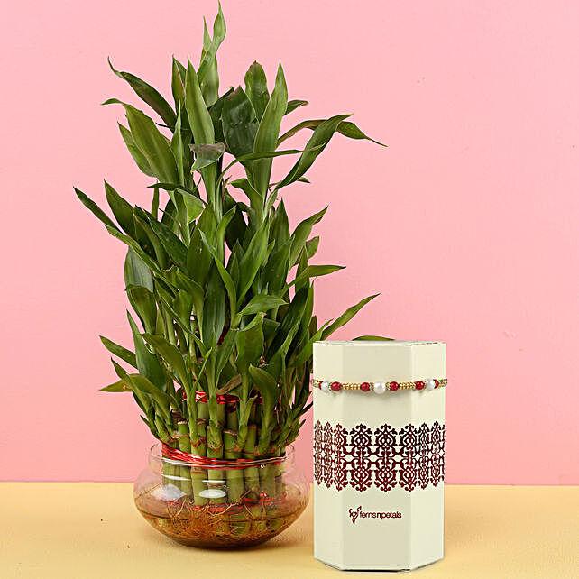 Online 3 Layer Bamboo And Meenakari Rakhi