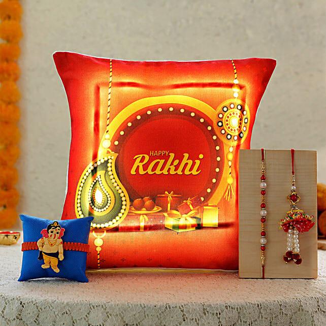 3 rakhis with printed cushion