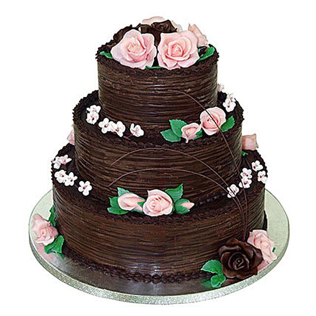 3 tier chocolate wedding cake 5kg:Wedding Cakes Ludhiana