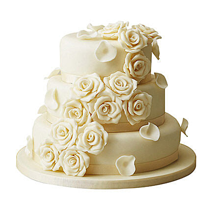 Three Tear Wedding Cakes.3 Tier White Rose Wedding Cake Chocolate 5kg Gift 3 Tier Wedding Fondant Cake Chocolate 5kg Ferns N Petals
