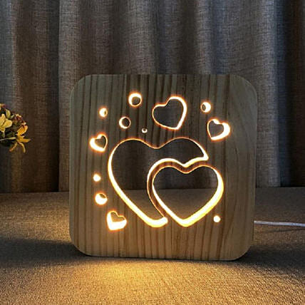 3D Wooden LED Night Light Lamp Hearts