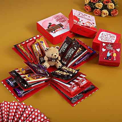 4 Layer Red And White Chocoholic Explosion Box:Explosion Box