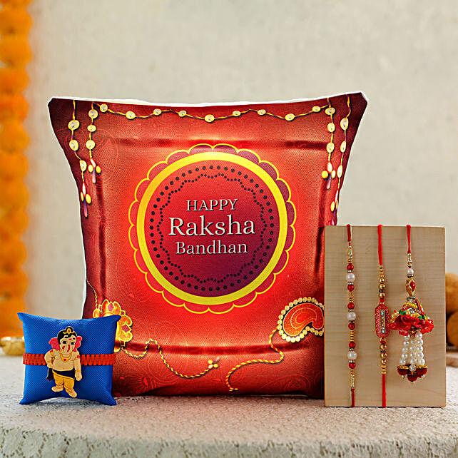 4 rakhis with printed led cushion