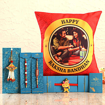 Send 4 Rakhis & Personalised Cushion:Rakhi Delivery in Hyderabad