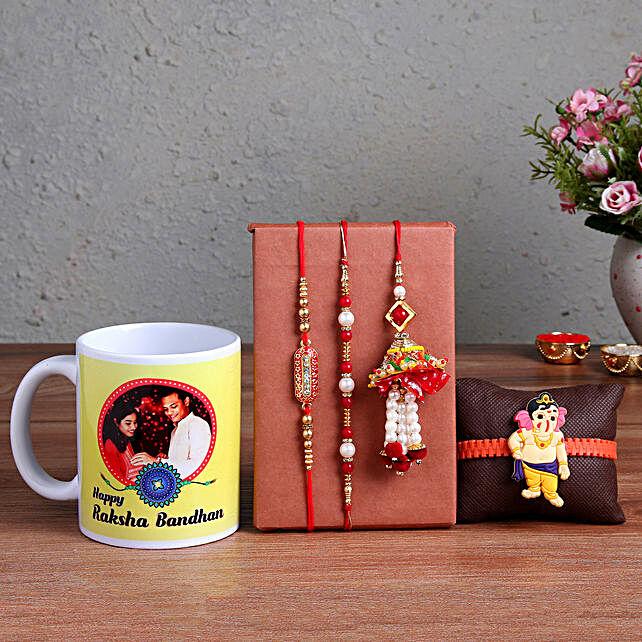 4 Rakhis & Personalised Mug Online