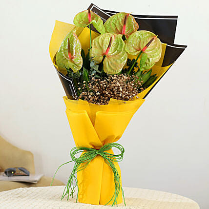 green anthurium bouquet online