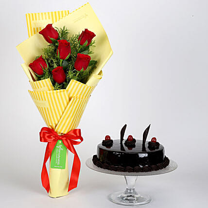 Bunch Of Red Roses with Truffle Cake Online:Flowers N Cakes - anniversary