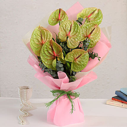 online bouquet tied arrangement:Anthuriums