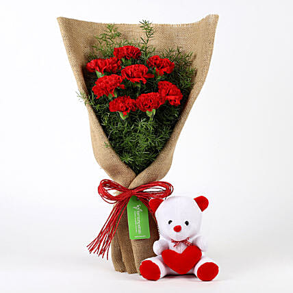 Red Carnations with Teddy Online