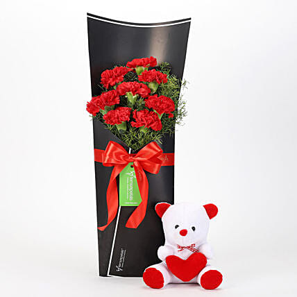 Shop Tedy Bear and Red Carnations
