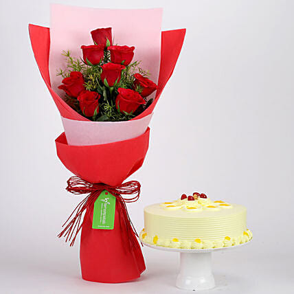 Red Roses Bouquet With Cake Online