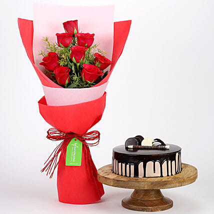 Red Roses Bouquet With Choco Cake Combo