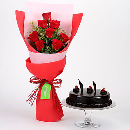 Red Roses Bouquet With Truffle Cake Combo