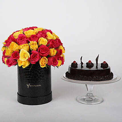Mix 80 Pink n Yellow roses box truffle cake combo:Send Flowers for Her