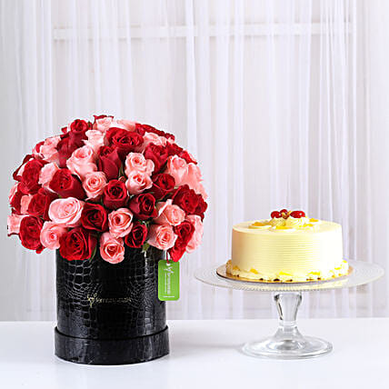 Mix 80 Red & Pink Roses in Box or butterscotch cake combo