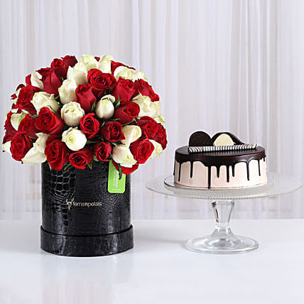 Mix of 2 roses in box with cake combo:Send Flowers & Cakes to Mumbai