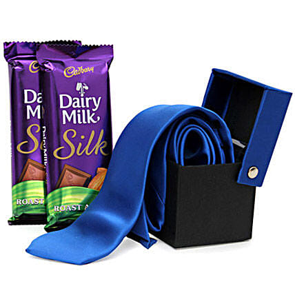 A Gentleman Dad-1 blue colored tie,2 Dairy Milk Silk Almond chocolates 60 grams each:Apparel Gifts