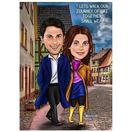 Personalised Poster For Couple:Send Digital Caricatures & Posters