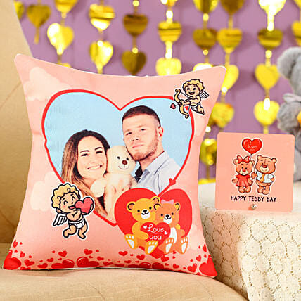 Adorable Cushion Table Top Combo:Gift Combos For Teddy Day
