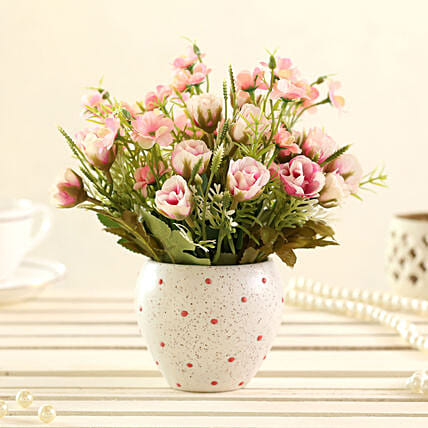 faux artificial flower with dots pot online
