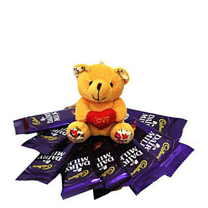 All you Add Is Love-2 inch teddy bear,8 pieces Cadbury Dairymilk chocolates 18 grams each:Send Soft toys to Dehradun