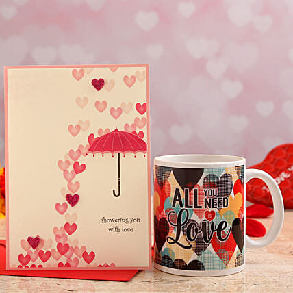 valentines day personalised mug with greeting card online:Valentines Day Greeting Cards