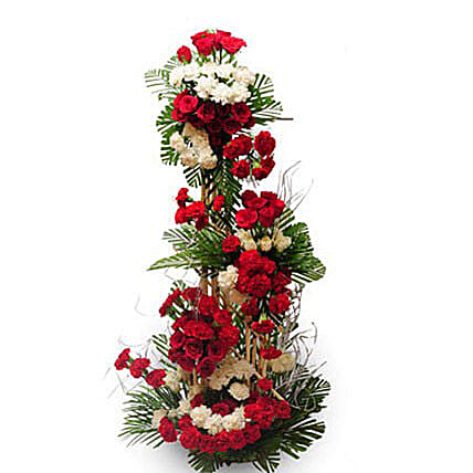 Alluring beauty - Life size arrangement of 50 red and roses and 50 red and  carnations.