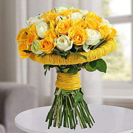 Yellow Rose Flowers Bunch:Send Designer Flower Bouquets