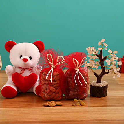 Valentines Teddy, Wish Tree Combo for Her