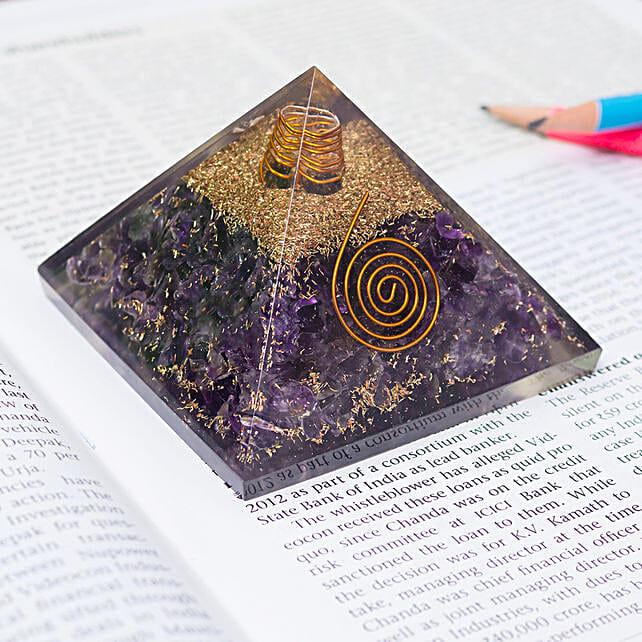 Amethyst Crystal Stone Pyramid Prism