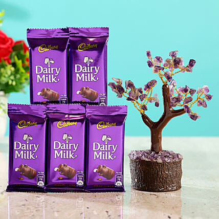 Amethyst Wish Tree & 7 Cadbury Dairy Milk