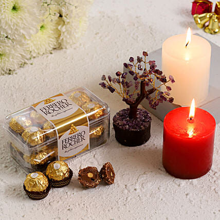 Amethyst Wish Tree With Ferrero Rocher Candles:Best New Year Gift For Girlfriend