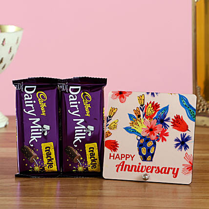 Anniversary Greetings with Chocolates Online