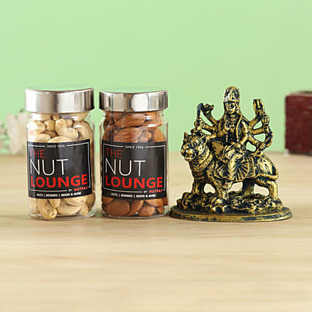 Antique Durga Idol & Nutraj Dry Fruits Combo