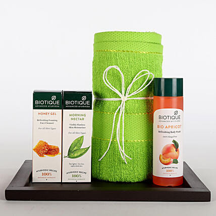 Hamper of towel, lotion, face cleanser, body wash and tray:Mothers Day Gifts Combo