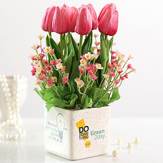 artificial pink n tulips gypsophila online