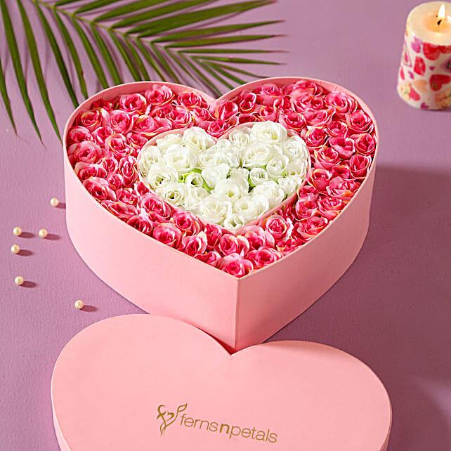 Heart shaped roses box arrangement online