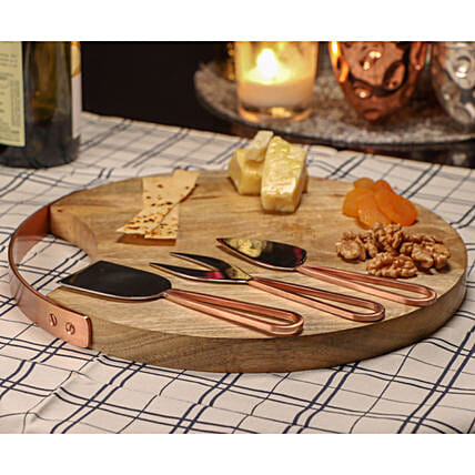 Artisanal Cheese Serving Platter With Knives