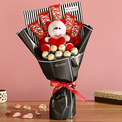 Assorted Chocolates And Teddy Bouquet