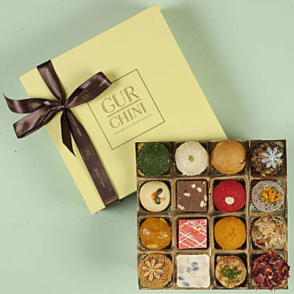 Assorted Exotic Mithai In Pastel Green Box 16 Pcs