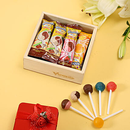 Multicoluor Lollipops in Wooden Box Online:Candies