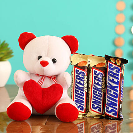 Online  Chocolates With Red Reusable Box:Romantic Soft toys