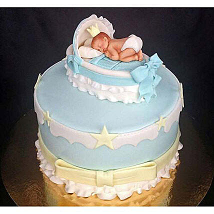 Baby In The Crib Fondant Cake 3kg