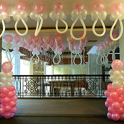 Baby Shower Decoration With Pink N White Balloons Gift Ballon