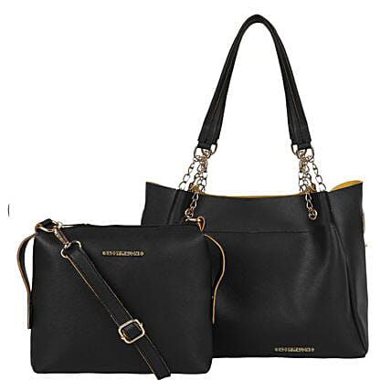 Bagsy Malone Black Tote Bags Combo of 2