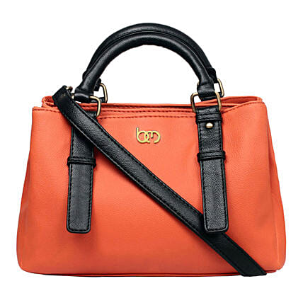 faux leather orange handbag