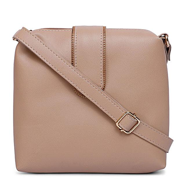 Bagsy Malone Chain Flap Sling Bag- Beige